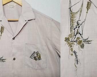 1950s Hawaiian Shirt / M / Outrigger / Warrior / 1950s Shirt / 1960s Hawaiian Shirt / 1950s Mens Fashion / 1960s Mens Fashion / Tiki Shirt