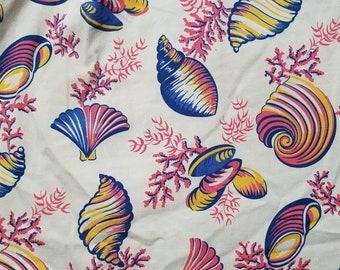1940s Hawaiian Shirt / L / Seashell / Undersea / Cabana / Novelty / Rockabilly / BVD / 1940s Mens Fashion / Tiki / Aloha / Luau / Beach