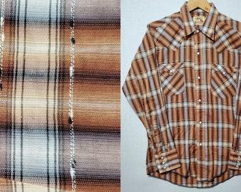 Vintage 1950's Atomic Fleck Pearl Snap Western Shirt - M - Rockabilly - Shadow Plaid