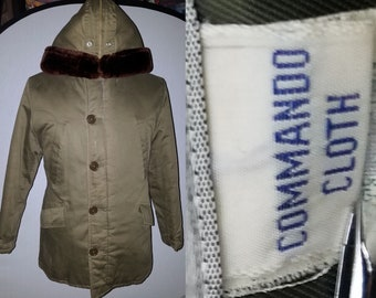 26055cb73581c3 Vintage 1960 s Military Style Parka Coat - 40 - M - Cold Weather - OD -  Hooded - Windward Commando Cloth - Army - Air Force - Snorkel Coat