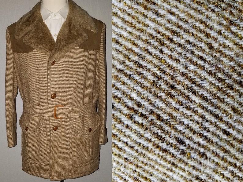 Vintage 1960s  1970s Austin Reed Tweed Belted Coat  40  M  image 0