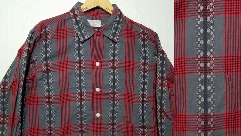 Vintage 1950s Atomic Pattern Plaid Shirt  M  Enro  Loop image 0