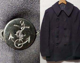 Vintage 1940's WWII US Navy 10 Button Corduroy Pocket Wool Peacoat Coat XS - S