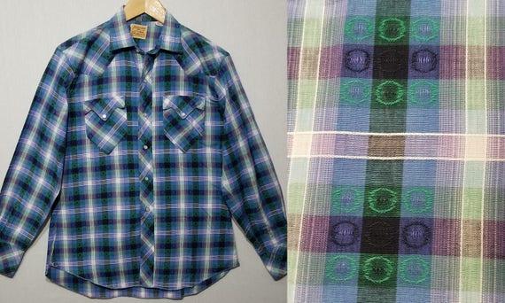 1950s Shirt / M / Plaid Western Shirt / Rockabilly