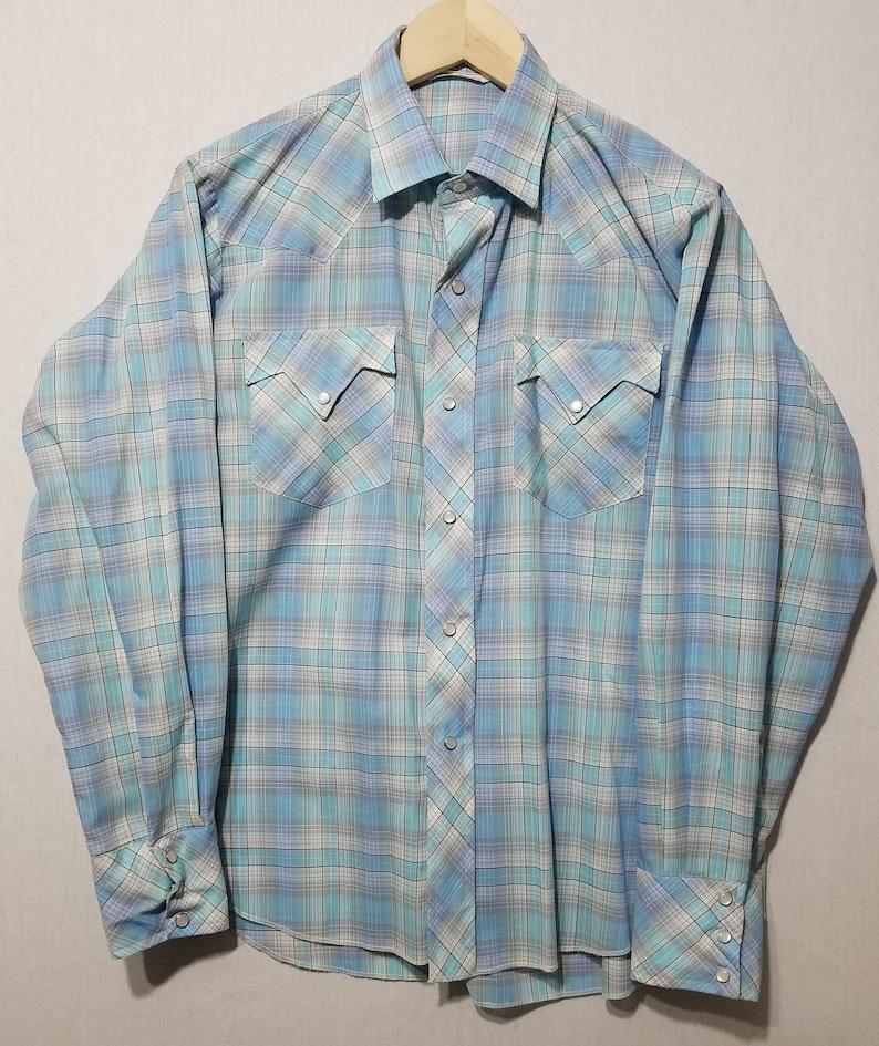 Vintage 1960s Plaid Pearl Snap Western Cowboy Rockabilly Shirt image 0