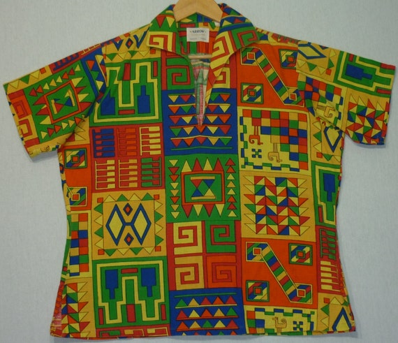 1960s Shirt / M - L / Psychedelic / Egyptian / Mod