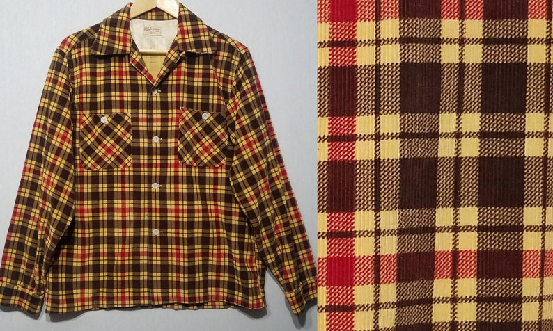 Vintage 1950s Plaid Loop Collar Corduroy Rockabilly Shirt  M image 0