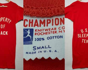 Vintage 1950s 1960s Champion Running Man V Neck Long T Shirt XXS - XS - Long Tee - Night Shirt - Funny - Sleeping Team