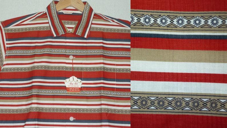 NOS  Vintage 1950s Mens Shirt  L  Gradation  Rockabilly  King Kole  New Old Stock  Deadstock  Southwestern  Indian  Loop Collar