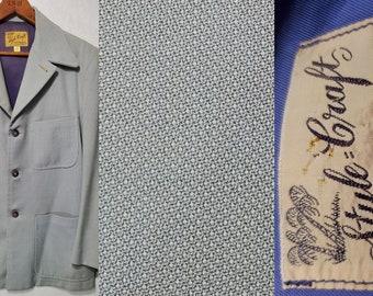 Vintage 1940s 1950s STYLECRAFT Birdseye Wool Hollywood Loafer Leisure Jacket - XS - 1940s Men's Fashion