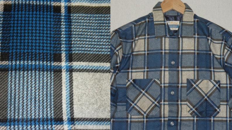NOS / 1960s Shirt / S  M / Flannel / Loop Collar / Rockabilly image 0