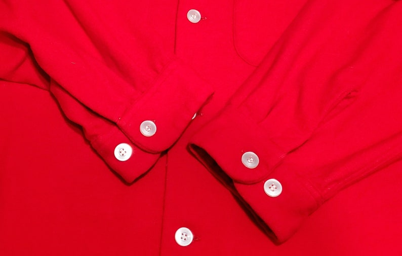 XL 1950s Men/'s Fashion Vintage 1950s Red Wool Long Sleeve Shirt