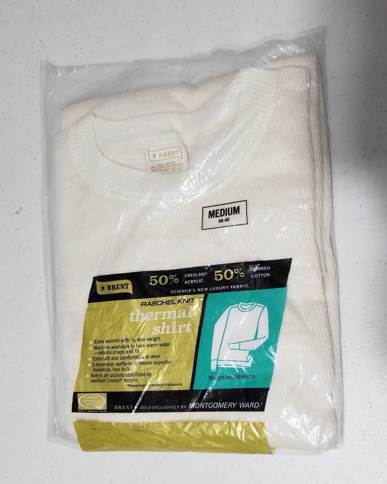 NOS Vintage 1960s Brent Thermal Shirt  M  38  40  Thermal image 0