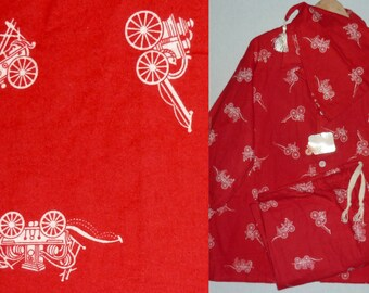 NOS / 1950s Mens Pajamas / XL / Flannel / Jayson / Novelty Print / New Old Stock / Deadstock / Rockabilly / 1940s / Vintage Mens Pajamas