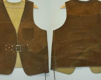 1960s Leather Vest / M - L / Hippie / Rocker / Outlaw / Biker / Suede / Rock N Roll / 1970s Leather Vest / Vintage 1960s Mens Clothing