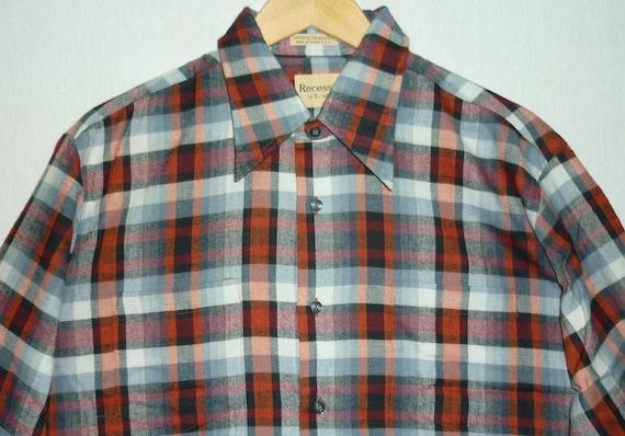 NOS / 1970s Shirt / L - XL / Rayon Shadow Plaid /