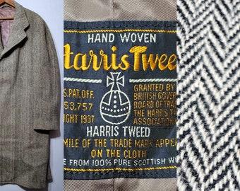 Vintage 1940's Harris Tweed Herringbone Overcoat - L - 42 - 1940s Men's Fashion