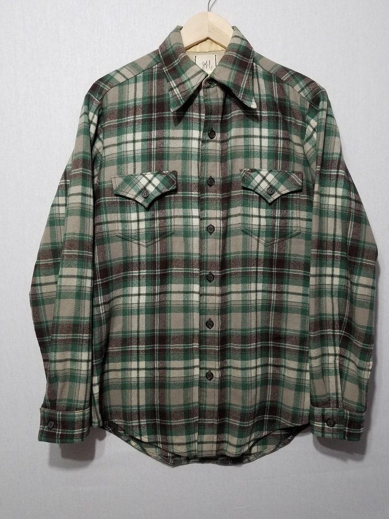 Vintage 1970s Plaid Wool Shirt  M  L  Pendleton Style  image 0