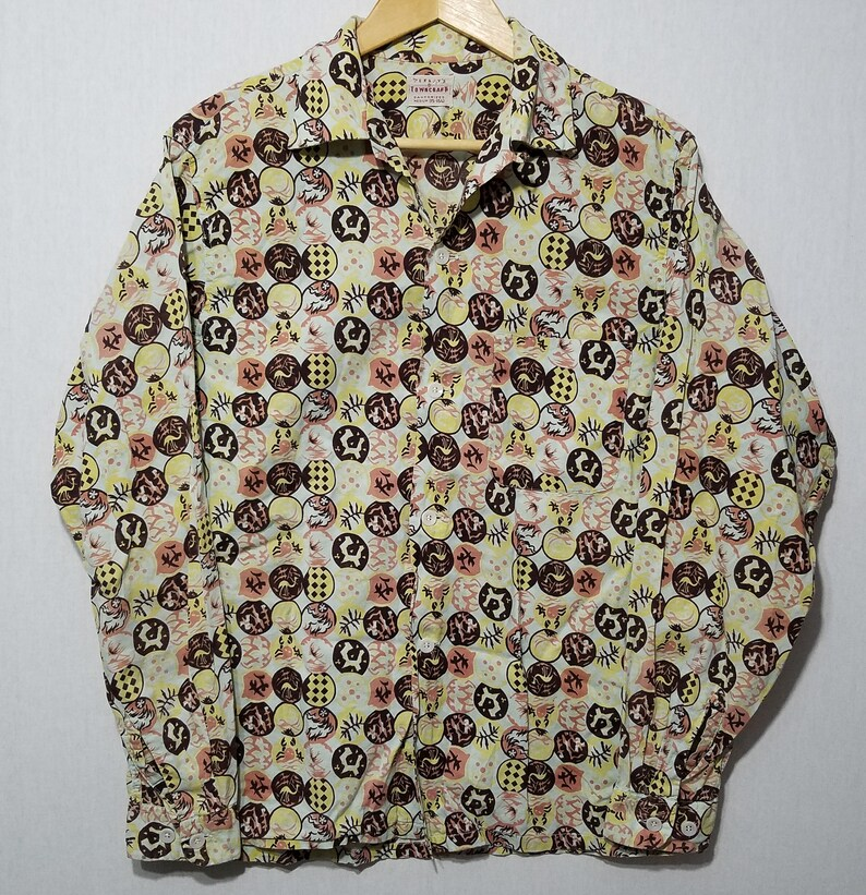 Vintage 1950s Penneys Towncraft Long Sleeve Atomic Asian image 0