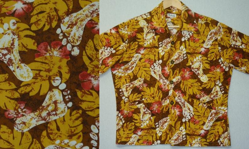 1960s Shirt / Hawaiian / L / Footprint / Barefoot / Hawaiian image 0