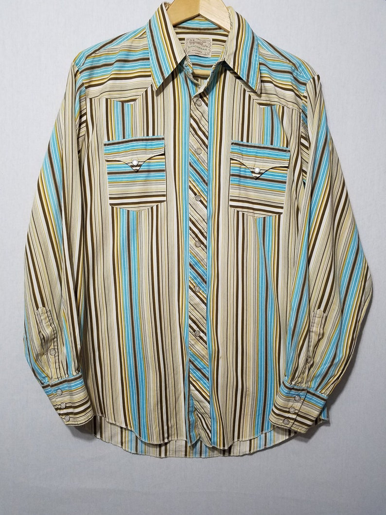 Vintage 1960s H Bar C Ranchwear Striped Cotton Pearl Snap image 0