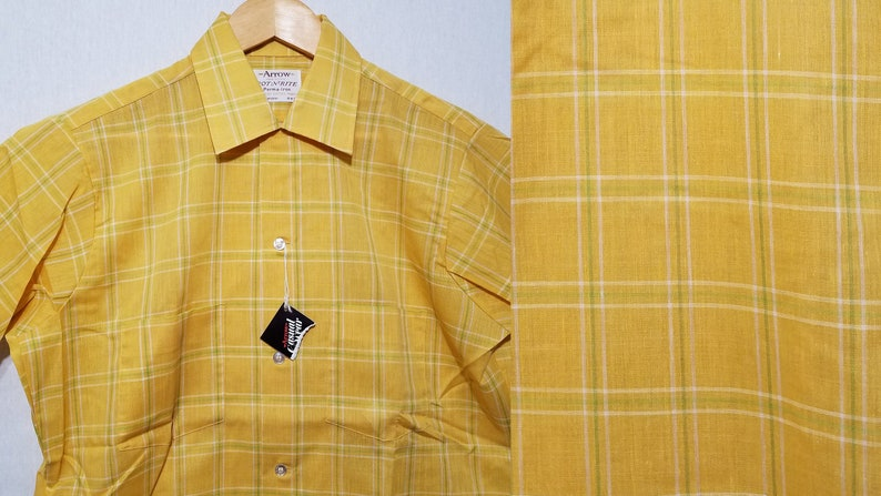 NOS Vintage 1960s Arrow Shirt  M  Yellow Plaid  Loop Collar image 0