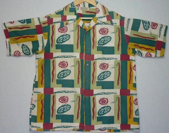 Vintage Mens 1940s Shirt / L / Atomic / 1950s Shir