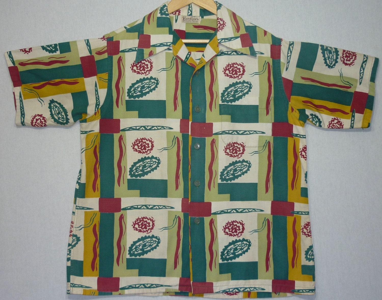 1940s Mens Ties | Wide Ties & Painted Ties Vintage Mens 1940S ShirtL Atomic 1950S Hawaiian Rockabilly Loop Collar Large $35.00 AT vintagedancer.com