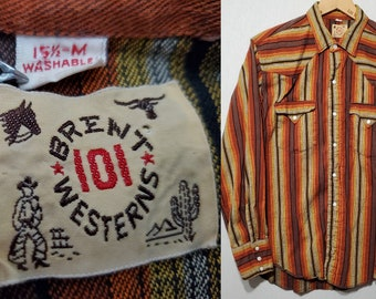 Vintage 1950s 1960s BRENT 101 Vertical Stripe Twill Pearl Snap Western Shirt - M