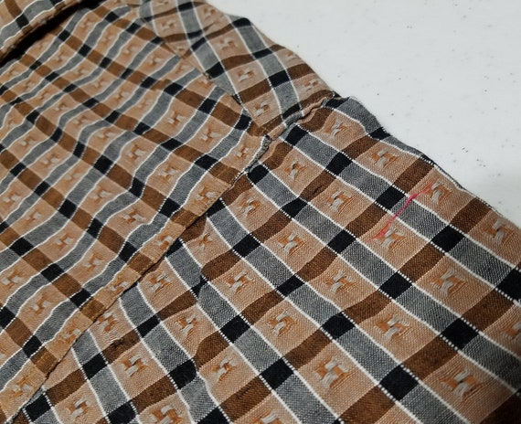 1950s Mens Fashion XL Vintage 1950s Embroidered Plaid Loop Collar Rayon Rockabilly Shirt With Tag