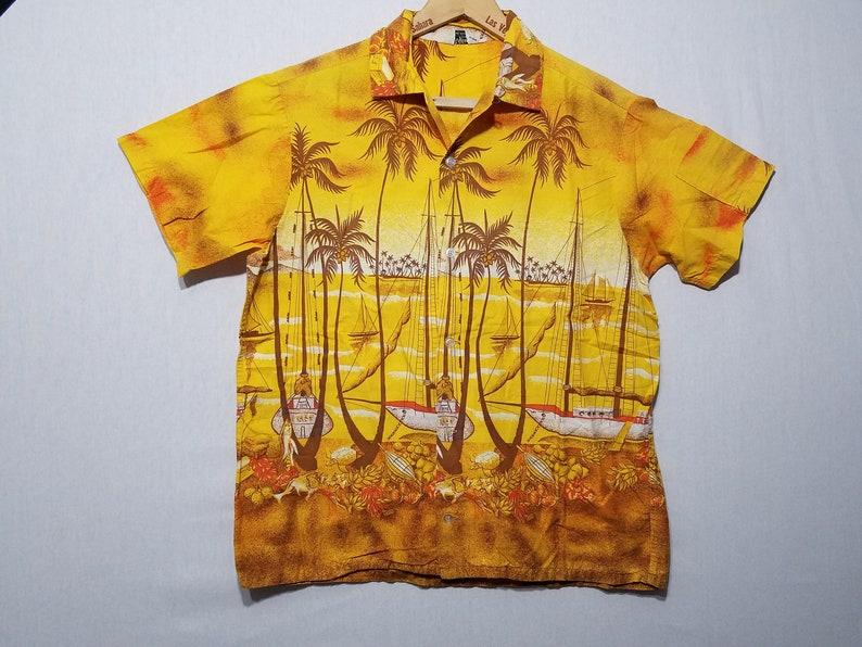 Vintage Vertical Pattern 1950s Hawaiian Shirt  M  Nautical image 0