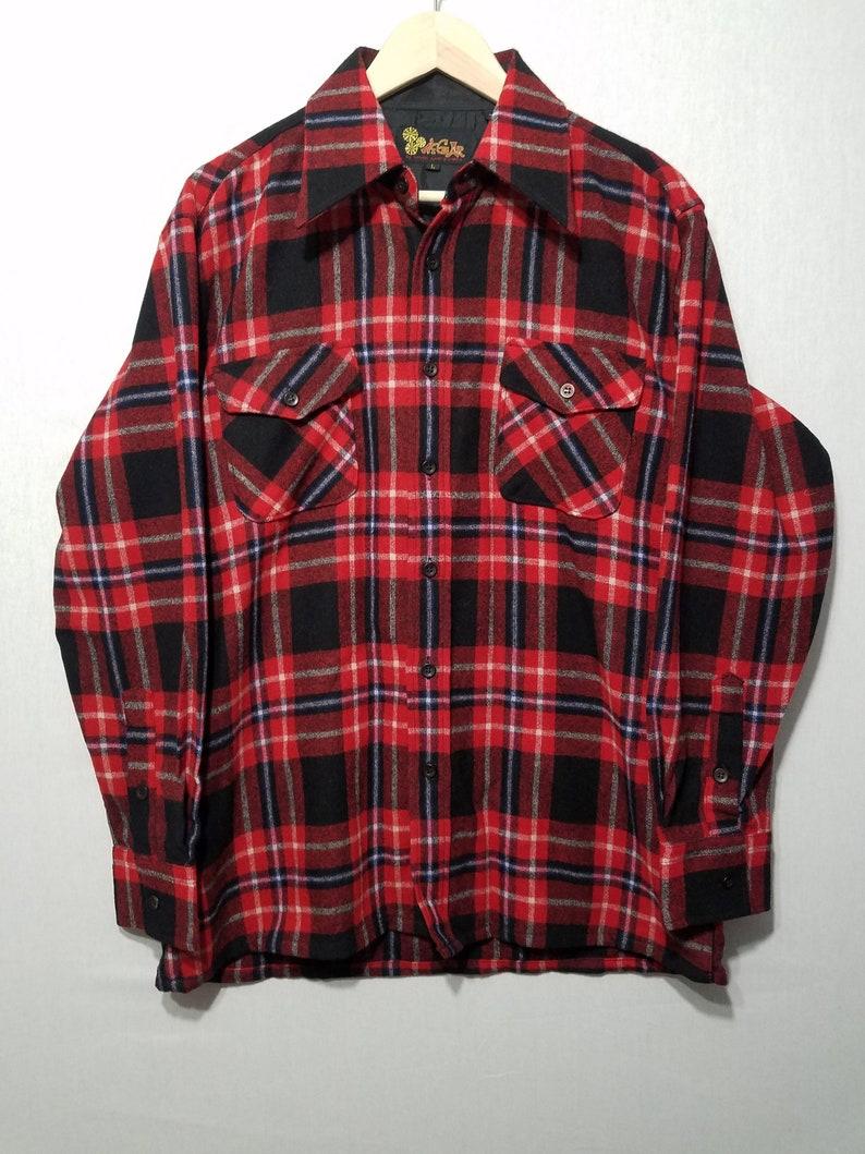 NOS Vintage 1970s Plaid Wool Shirt  L  Pendleton Style  image 0
