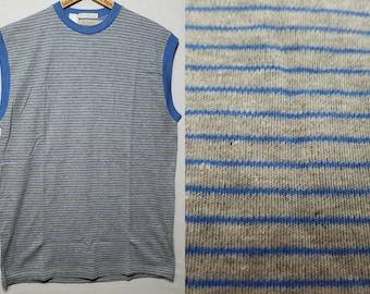 NOS Vintage 1950s Border Stripe Sleeveless Knit T Shirt - M - L - Juvenile Delinquent - Rockabilly - Greaser