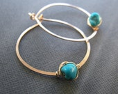 Turquoise earrings - genu...