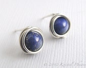 Lapis stud earrings - ste...