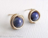 Tiny Lapis stud earrings ...