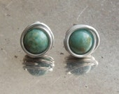 Amazonite stud earrings -...