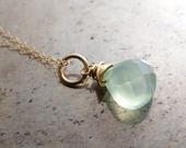 Chalcedony necklace - aqu...