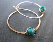 Turquoise earrings - genu...