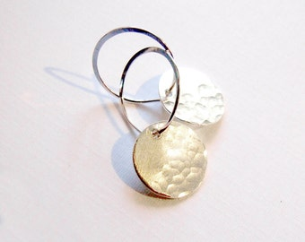 Hammered Silver Disk Earrings - Moonscape hoop earrings, eco-friendly dangle drop textured circle, bridal Gift, sterling, gold, rose gold