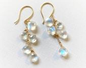 Moonstone earrings, Clust...