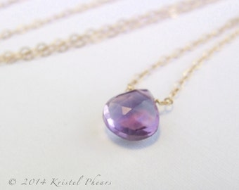 Amethyst necklace in Solid 14k gold - February Birthstone, large solitaire statement natural solitaire birthstone Gift, yellow white rose