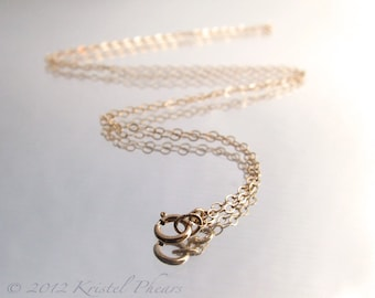 """14k Gold-Filled chain - 16"""" 18"""" 20"""" or 24"""" delicate sparkly flat oval link necklace chain, gold chain"""