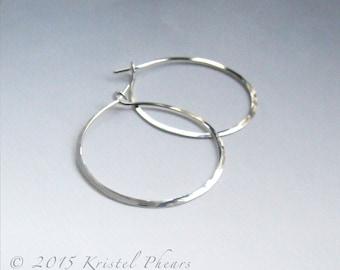 "Titanium Hoops 1.5"" (or Niobium) - Large Eco-Friendly Artisan Silver hoop earrings hammered simple basic 36mm 35mm 18ga 20ga Made in USA"
