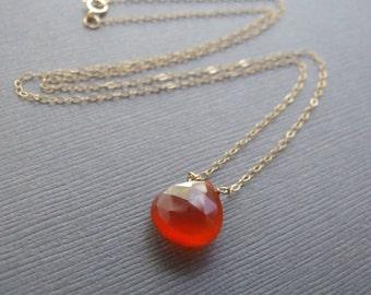 Carnelian Necklace - Modern Minimal Necklace, Choker Necklace Orange Carnelian Solitaire, Sterling Silver, 14k Gold-Filled, or Oxidized .925