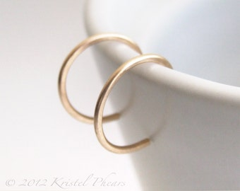 """Extra Tiny Gold Hoops - reverse hoop earrings 14k Gold-Filled simple minimalist 5/16"""" 5mm 8mm yellow rose white eco-friendly unisex gift"""