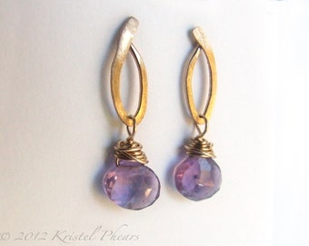 Amethyst Earrings - Gold or Sterling Dangle earrings, original design lavender purple February birthstone bridesmaid gift