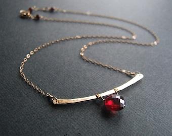 Garnet necklace, Statement Hammered Gold Bar - 14k gold-filled red original jewelry design choker January Birthstone Gift