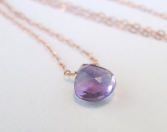 Amethyst necklace, February Birthstone Gift 14k gold-filled or sterling large lilac natural gemstone minimal solitaire