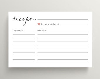 bridal shower recipe cards pink love heart pp47